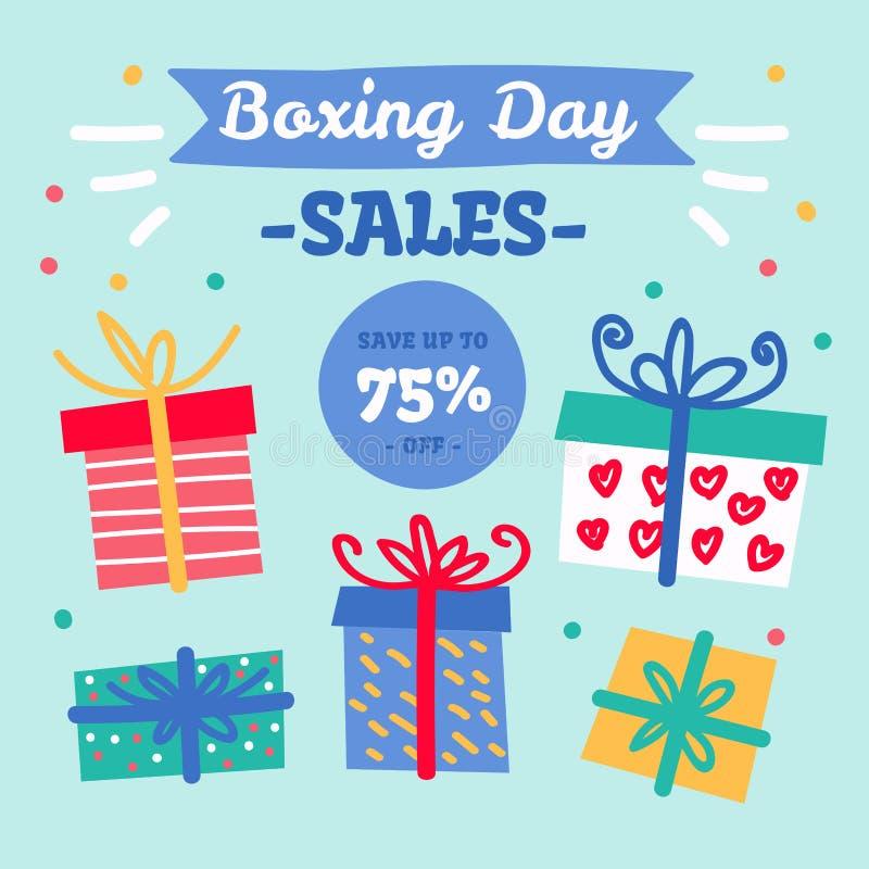 Projeto feliz com caixas de presente, economias grandes de compra da venda da São Estêvão do feriado fotos de stock royalty free