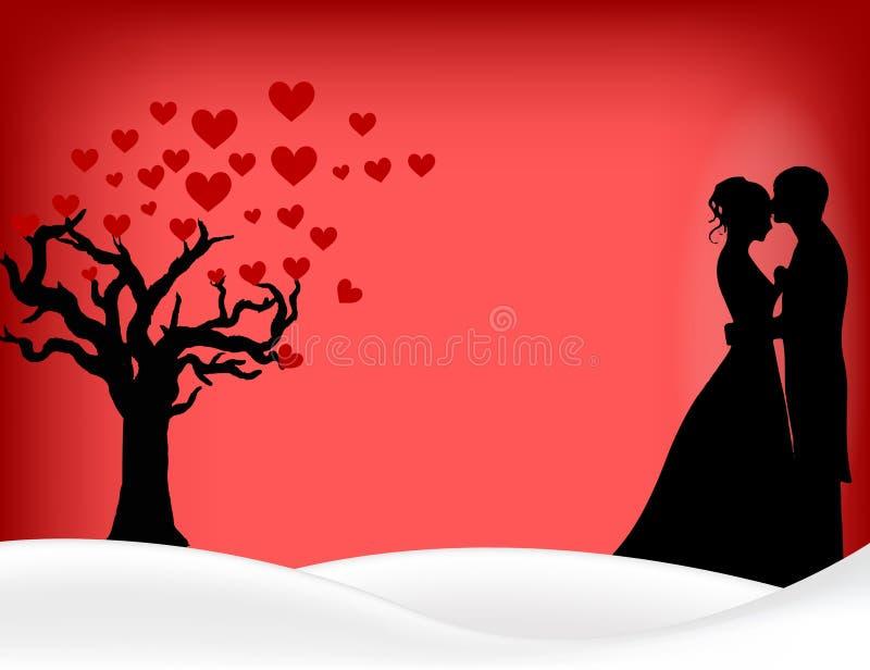 Projeto feliz da ilustração do dia de são valentim com pares e árvore do coração fotos de stock royalty free