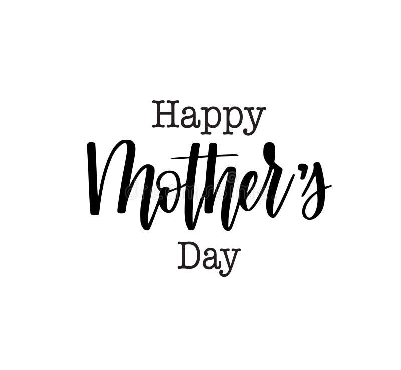 Projeto feliz do cartão da caligrafia do vetor do dia da mãe s ou do anúncio do cartaz ilustração stock