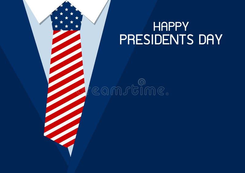 Projeto feliz do dia dos presidentes da ilustração do vetor da gravata dos EUA ilustração do vetor