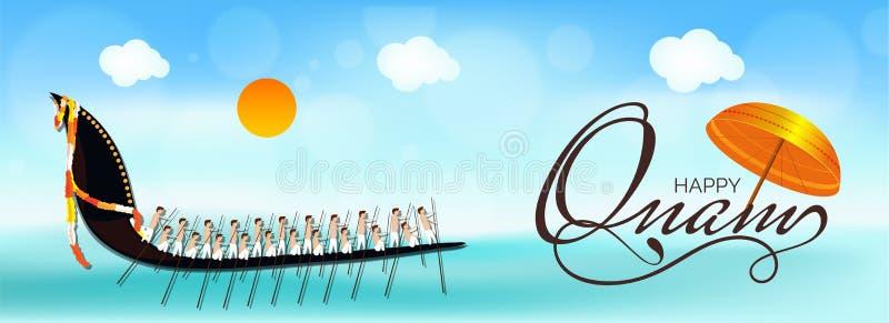 Projeto feliz do encabeçamento ou da bandeira de Onam com guarda-chuva tradicional e ilustração royalty free