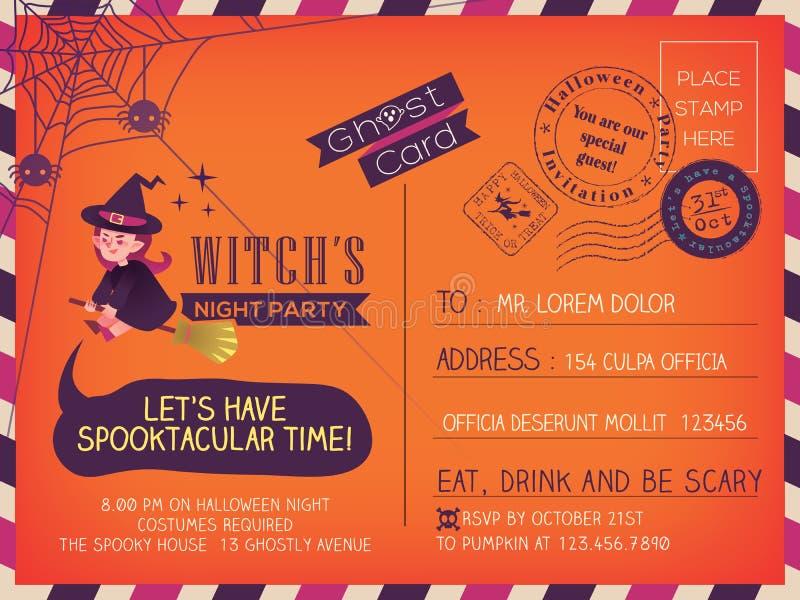 Projeto feliz do fundo do convite do cartão do vintage de Dia das Bruxas ilustração stock