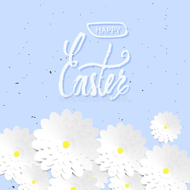 Projeto feliz do fundo do dia da Páscoa das citações O projeto da etiqueta Cartão da Páscoa com flores da camomila Teste padrão ilustração stock
