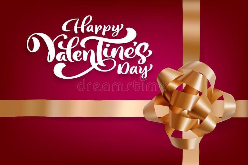 Projeto feliz do vetor da tipografia do dia de Valentim para cartões e cartaz Texto do vetor do Valentim em um fundo vermelho dos ilustração stock