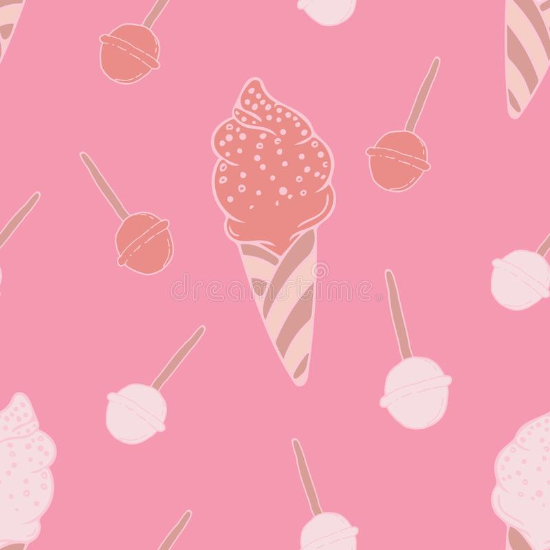 Projeto feminino do teste padrão das crianças modernas dos doces e do gelado ilustração do vetor