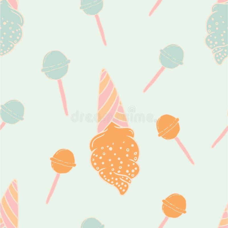 Projeto feminino do teste padrão das crianças modernas dos doces e do gelado ilustração stock