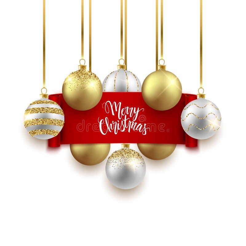 Projeto festivo do fundo do Natal e do ano novo, bolas decorativas do ouro e fita vermelha, ilustração do vetor ilustração do vetor
