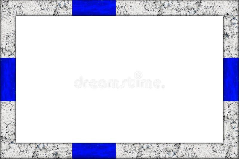 Projeto finlandês da bandeira de finland da moldura para retrato de madeira vazia ilustração royalty free