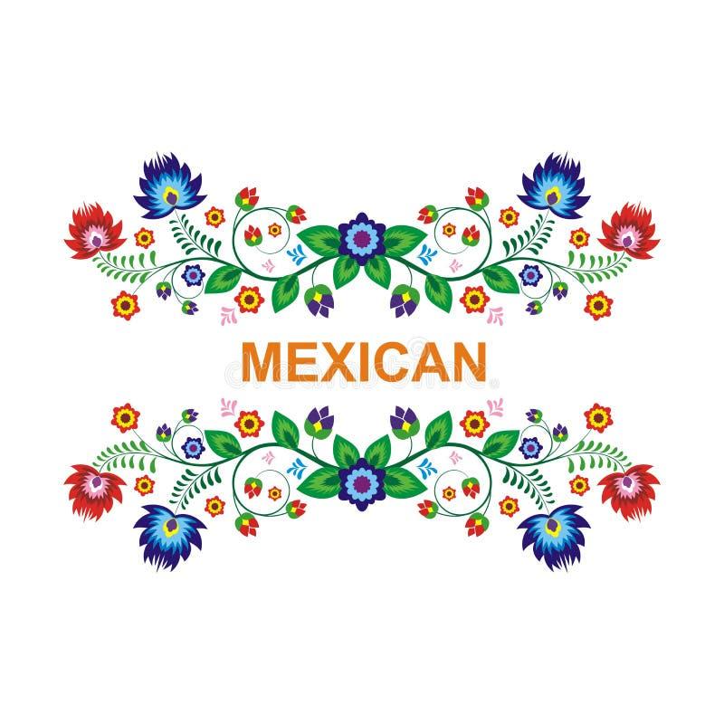 Projeto floral étnico mexicano bonito da decoração ilustração do vetor