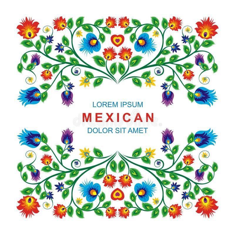 Projeto floral étnico mexicano bonito da decoração ilustração royalty free