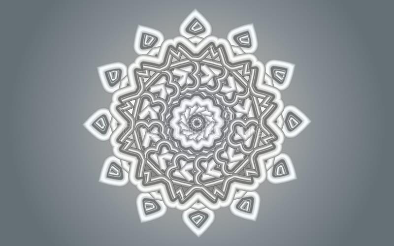 Projeto floral branco de prata da mandala sobre o fundo dos inclinações do cinza de prata ilustração royalty free