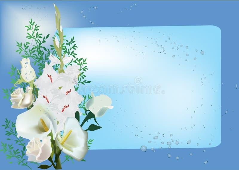 Projeto floral branco no fundo azul ilustração royalty free
