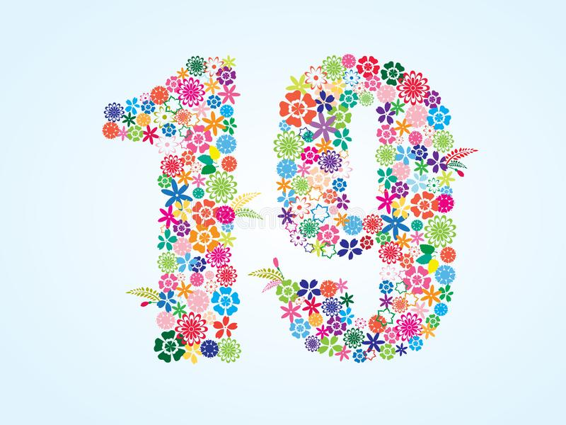 Projeto floral colorido de 19 números do vetor isolado no fundo branco Caráter tipo floral do número dezenove ilustração royalty free