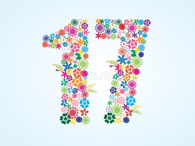 Projeto floral colorido de 17 números do vetor isolado no fundo branco Caráter tipo floral do número dezessete ilustração do vetor