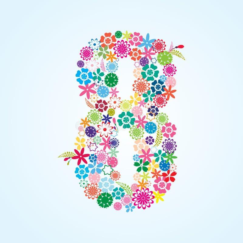 Projeto floral colorido de 8 números do vetor isolado no fundo branco Caráter tipo floral do número oito ilustração stock