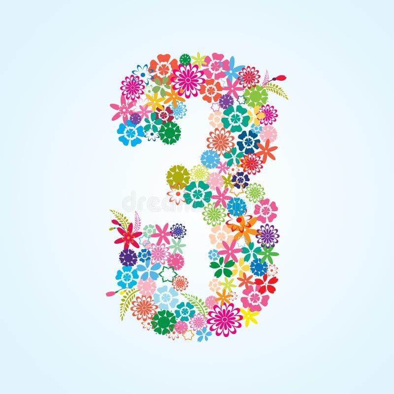 Projeto floral colorido de 3 números do vetor isolado no fundo branco Caráter tipo floral do número três ilustração stock