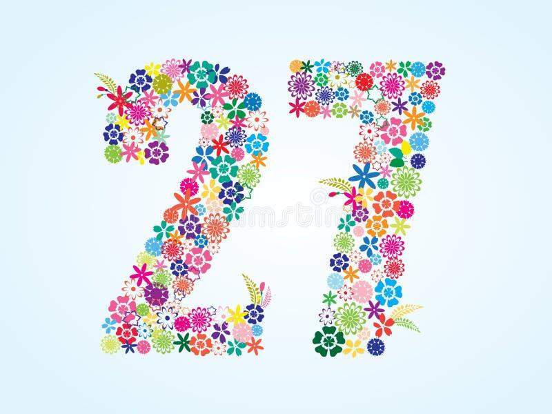 Projeto floral colorido de 27 números do vetor isolado no fundo branco Caráter tipo floral do número vinte e sete ilustração royalty free