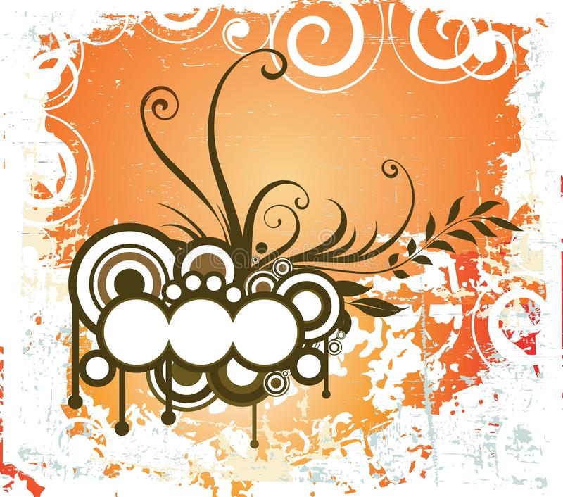 Projeto floral creativo com grunge ilustração royalty free