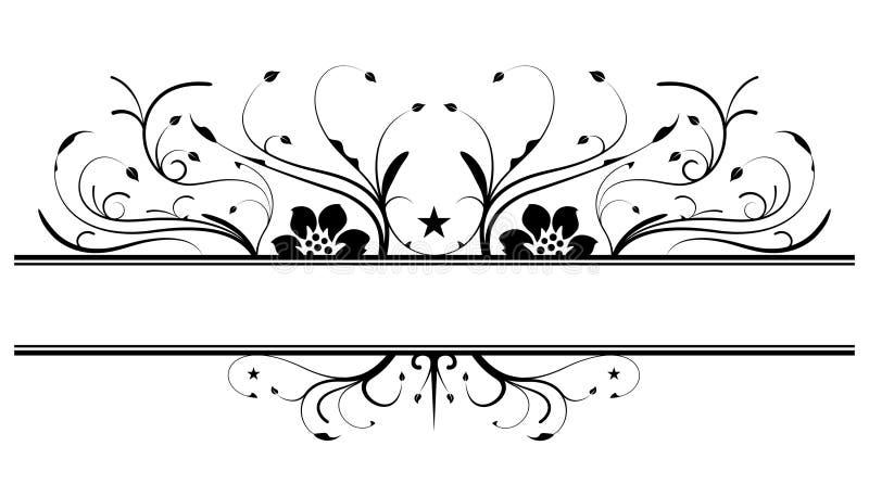 Projeto floral da bandeira no preto ilustração royalty free