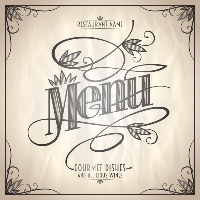 Projeto floral da lista do menu do restaurante do estilo do vintage ilustração royalty free