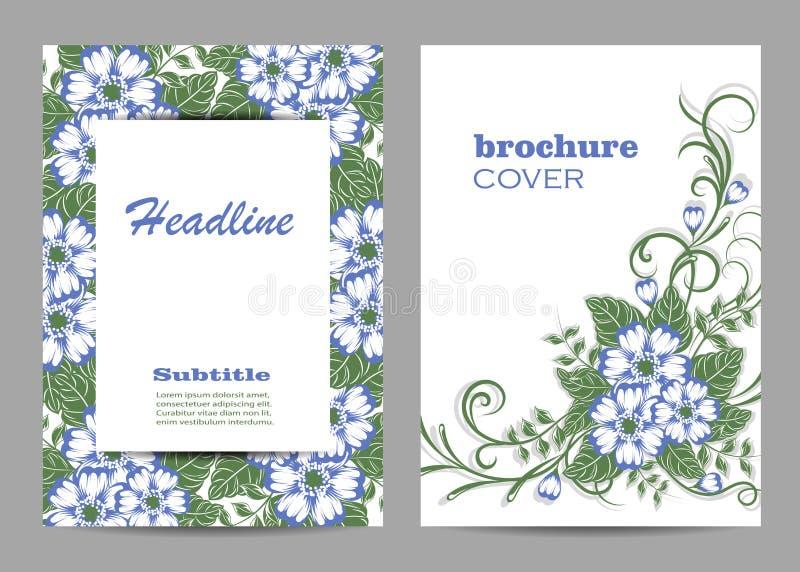 Projeto floral da tampa do folheto Teste padrão floral bonito no fundo branco ilustração do vetor