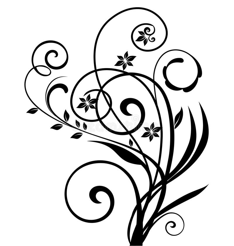 Projeto floral de Swirly ilustração stock