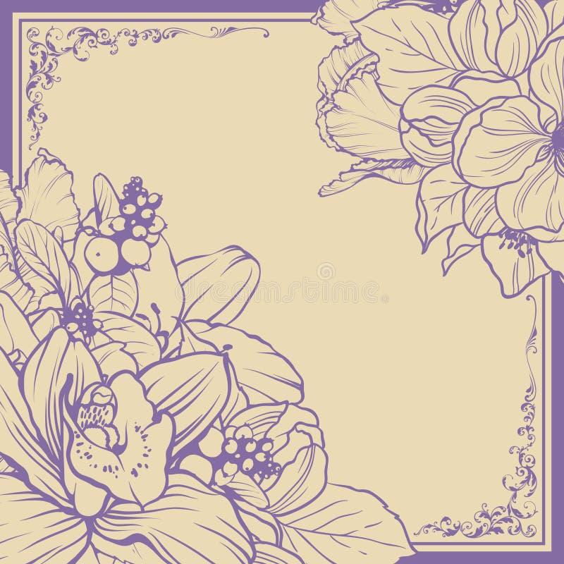 Projeto floral do fundo do quadro decorativo do vintage Ilustração do vetor Bandeira do convite do cartão do molde com flores bon ilustração do vetor