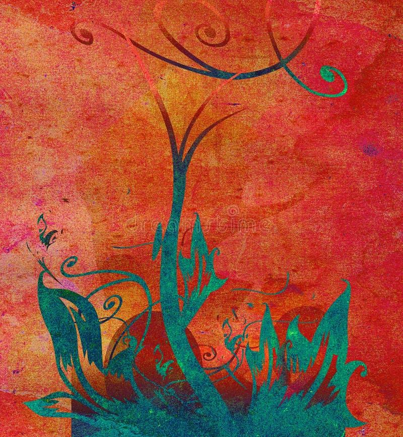 Projeto floral do grunge da concepção ilustração stock