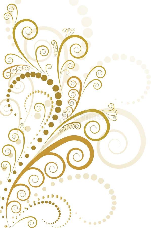 Projeto floral do ouro ilustração stock