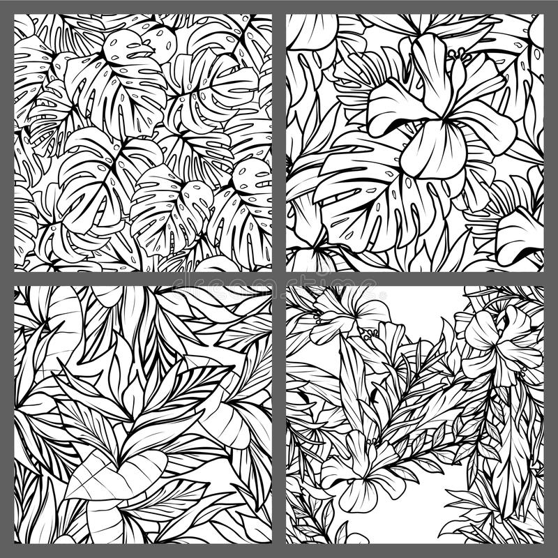 Projeto floral do papel de parede do fundo do teste padrão do vetor das folhas tropicais sem emenda preto e branco imagens de stock royalty free