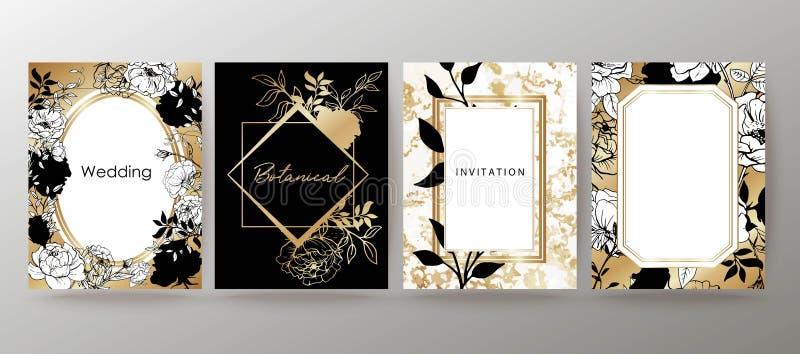 Projeto floral do quadro Arranjo do convite do casamento Composição botânica Flores desenhadas mão ilustração do vetor