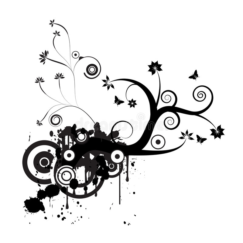 Projeto floral do vetor de Grunge ilustração stock