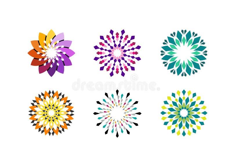 Projeto floral do vetor do logotipo do círculo ilustração royalty free