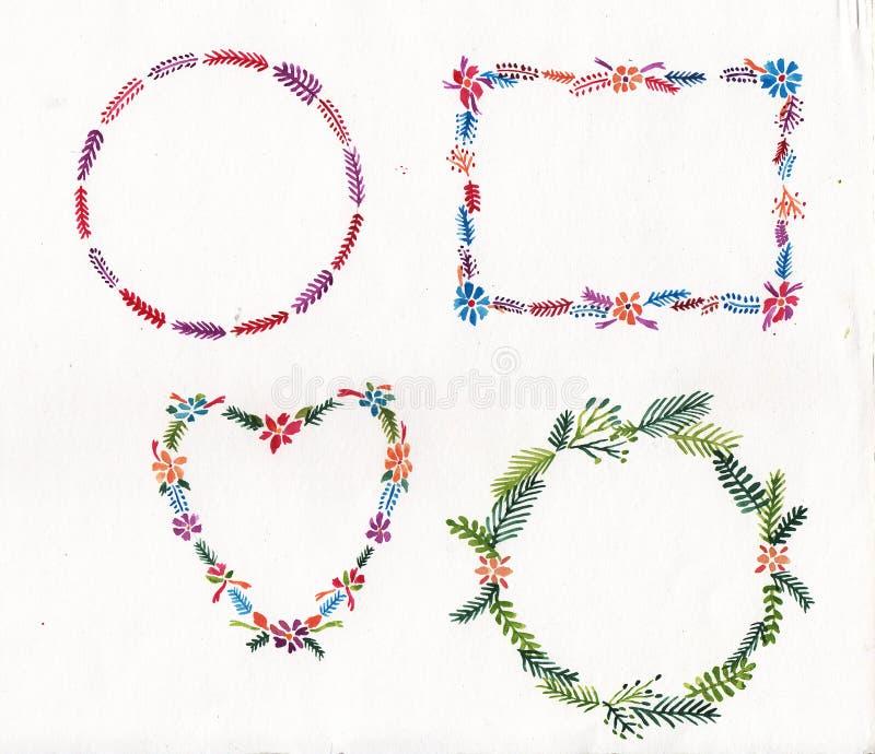 Projeto floral do watercolour do quadro do bloco imagens de stock royalty free