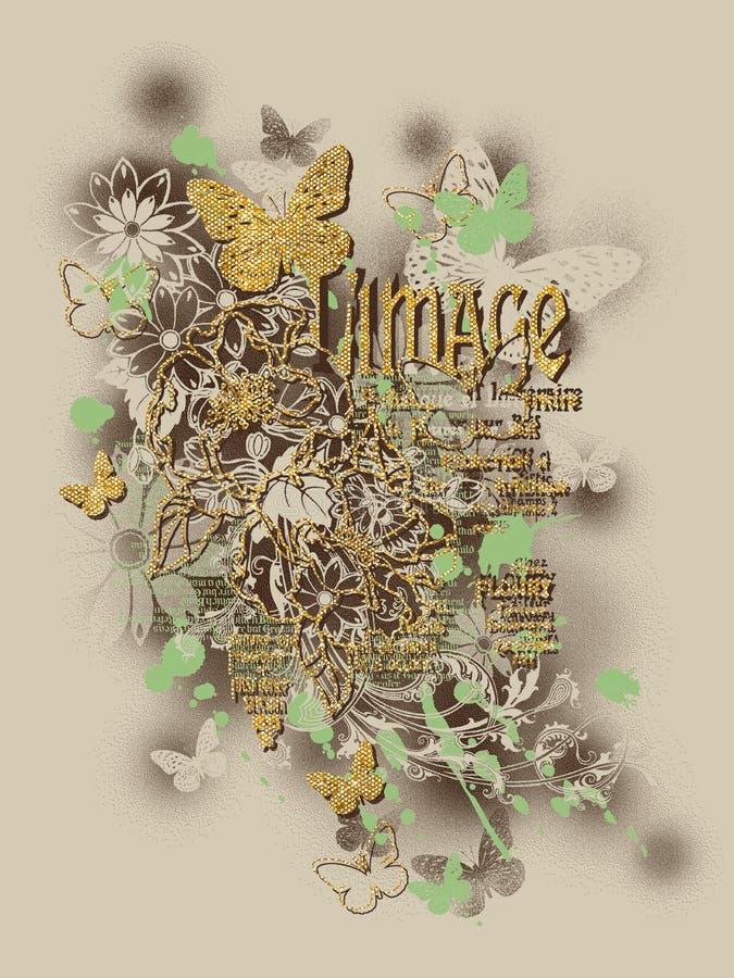 Projeto floral dos t-shirt da borboleta fotografia de stock royalty free