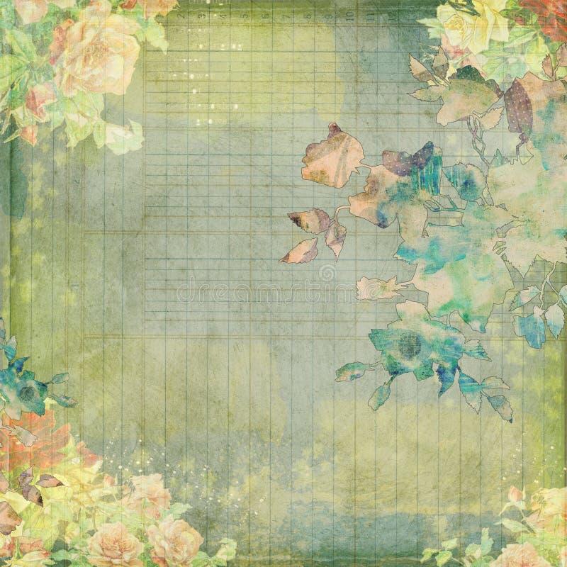 Projeto floral gasto do vintage sujo fotos de stock royalty free