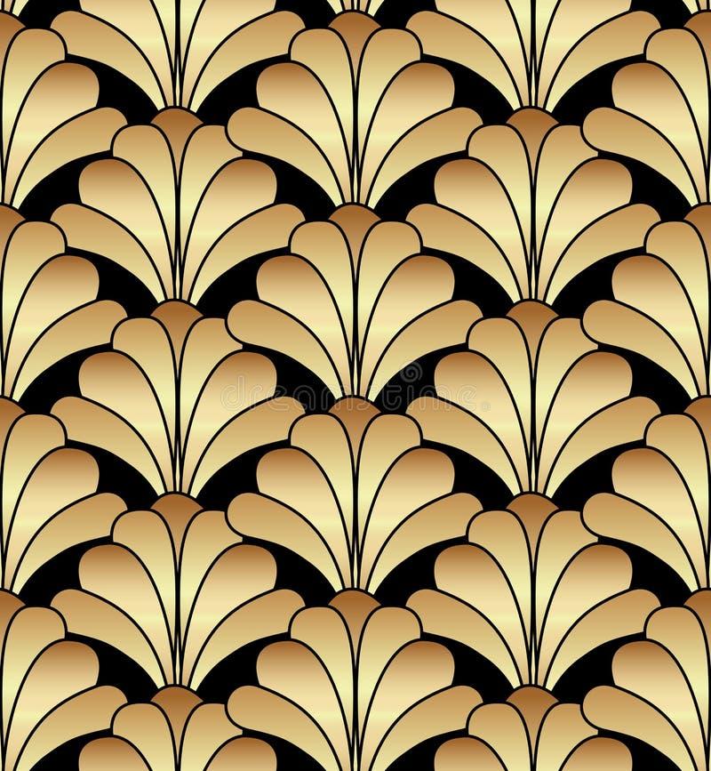 Projeto floral geométrico de Gatsby Art Deco Seamless Pattern Background ilustração royalty free