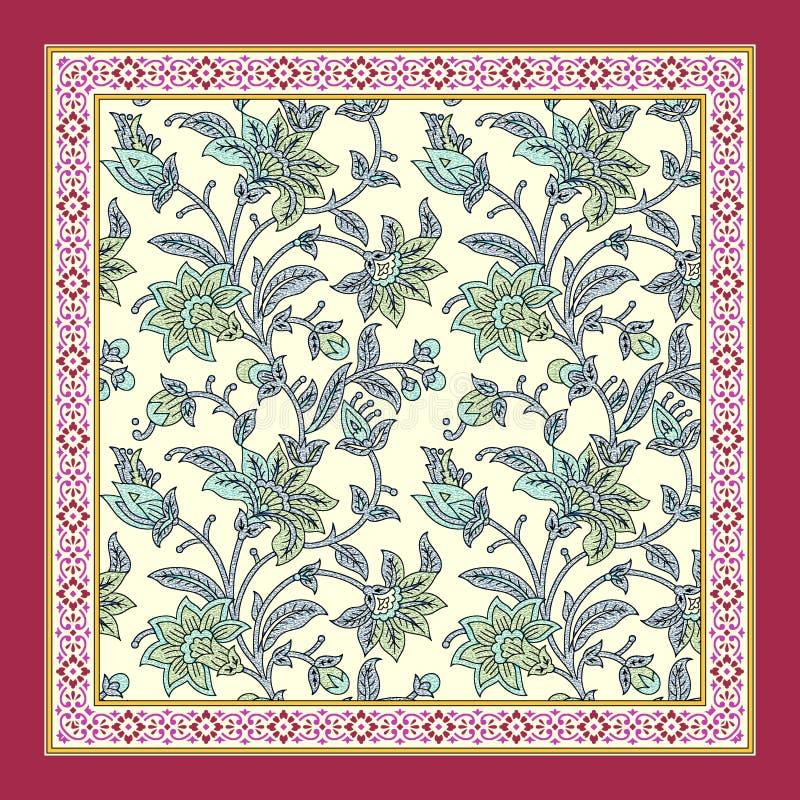 Projeto floral sem emenda do lenço ilustração do vetor