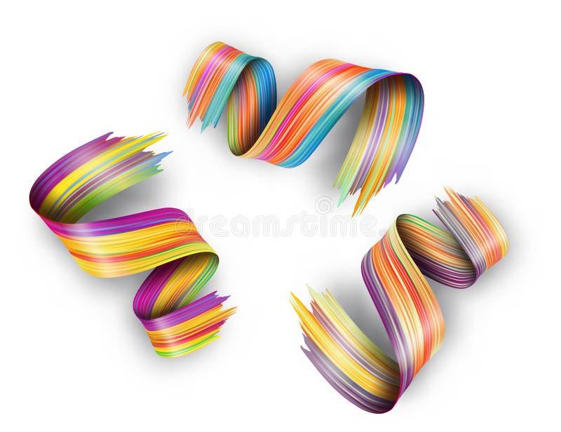 projeto fluido líquido do sumário 3d Curso torcido colorido da escova ilustração royalty free