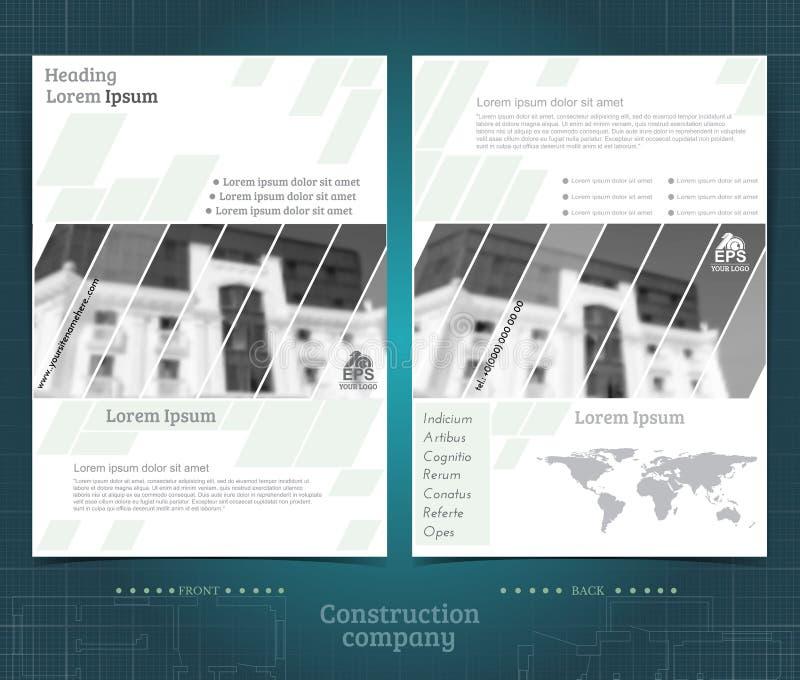 Projeto frente e verso do molde do folheto ou do flayer com construção exterior a foto preto-branca borrada Estilo moderno da tam ilustração stock