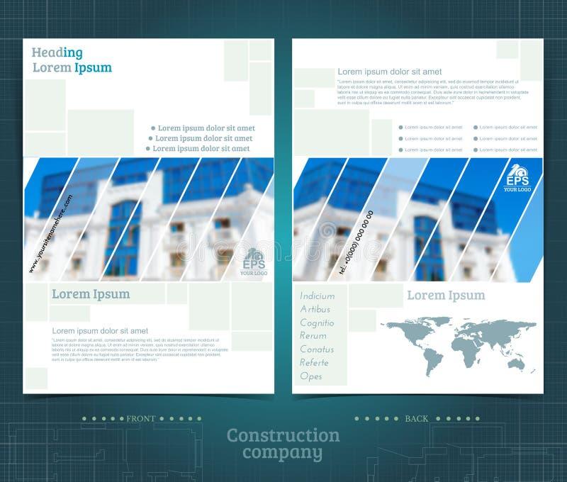 Projeto frente e verso do molde do folheto ou do flayer com o foto a cores borrado de construção exterior Tampa do modelo no esti ilustração do vetor