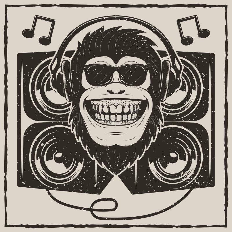 Projeto fresco da impressão do t-shirt do grunge do vetor do macaco da música ilustração stock