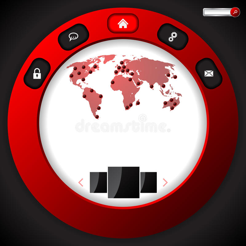 Projeto fresco do molde do Web site com anel vermelho ilustração royalty free