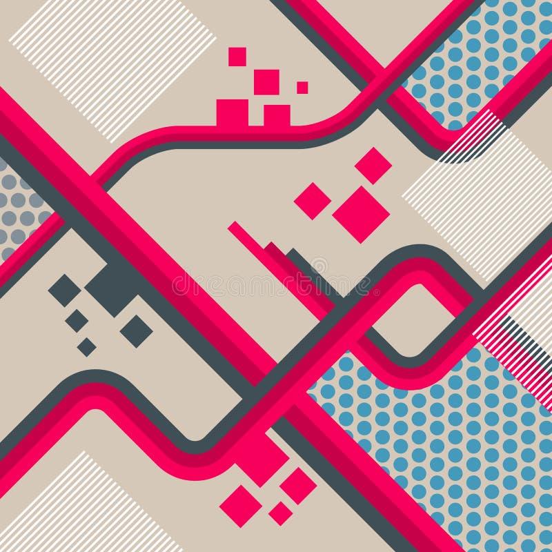 Projeto futurista abstrato do fundo O conceito de projeto arquitetónico, industrial e científico trabalha Linhas Ilustração ilustração do vetor