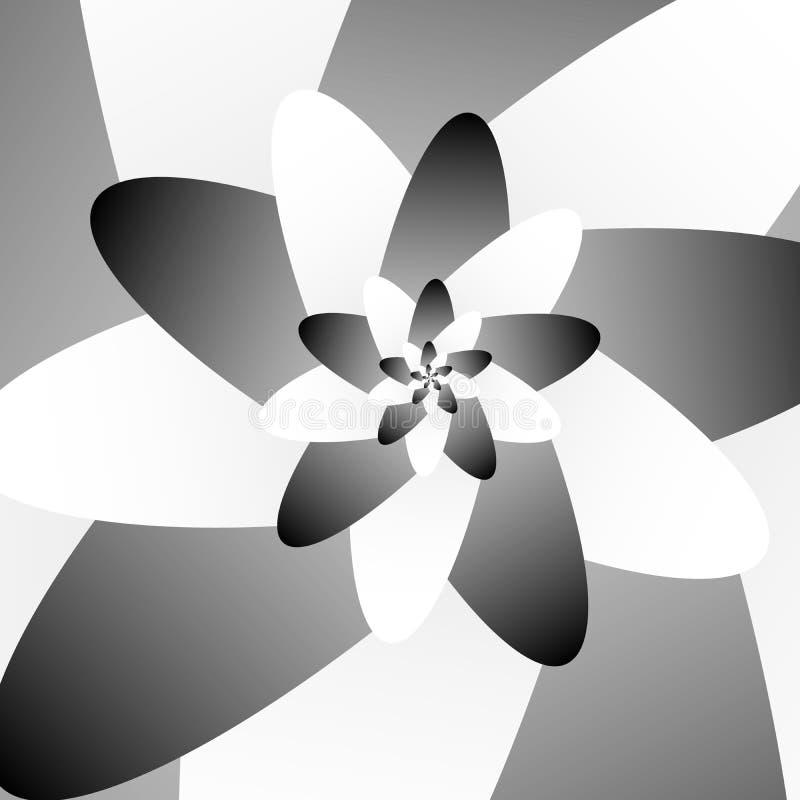 Projeto futurista abstrato do vetor floral preto & branco da ilustração do vetor dos gráficos da Olá!-tecnologia na moda ilustração royalty free