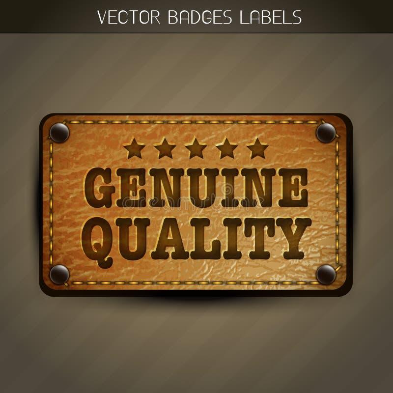 Projeto genuíno da etiqueta do couro do estilo ilustração do vetor