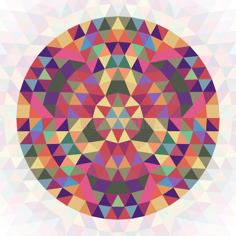 Projeto geométrico abstrato circular do caleidoscópio do triângulo - gráfico simétrico do teste padrão do vetor dos triângulos co ilustração do vetor