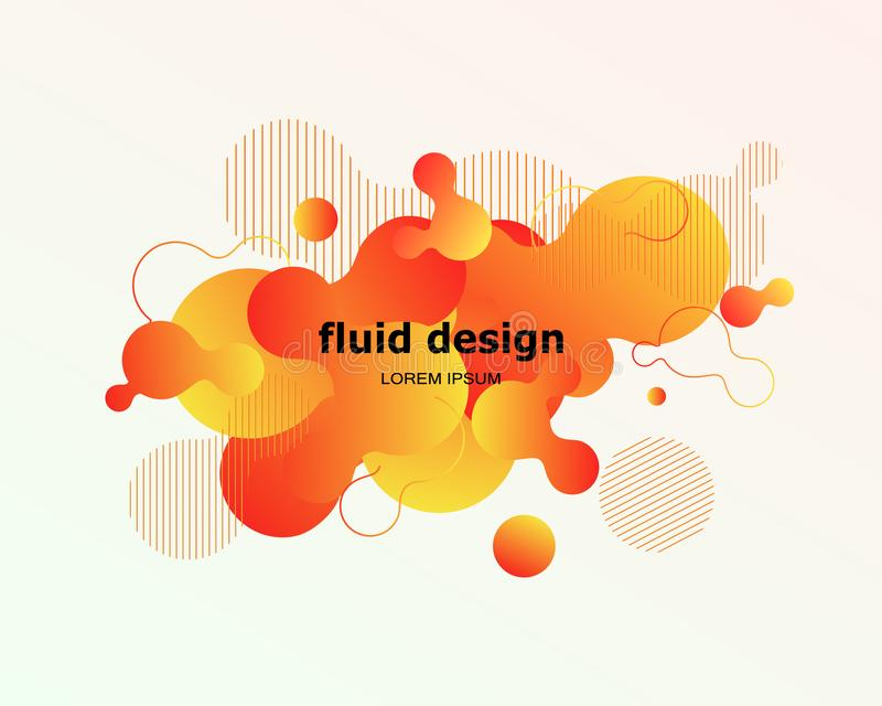 Projeto geométrico colorido do fundo Composição fluida w das formas ilustração stock