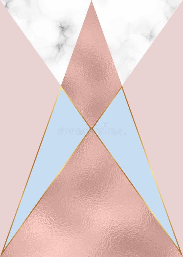 Projeto geométrico da forma com folha de ouro cor-de-rosa e textura de mármore Fundo moderno para o cartão, celebração, inseto, m ilustração royalty free