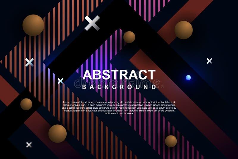 Projeto geométrico de néon moderno de memphis do molde abstrato do fundo ilustração do vetor